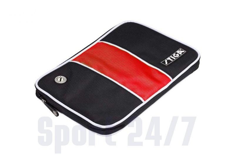 Чехол прямоугольный на 1 ракетку Stiga Stripe (черно-красный)