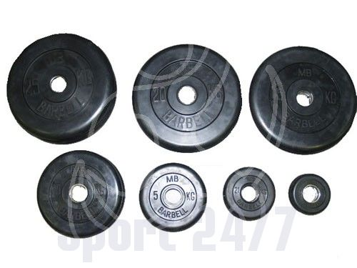 Диск черный обрезиненный MB Barbell Евро-классик 5 кг (Д-51-мм)