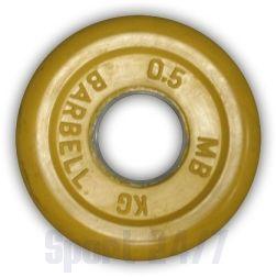 """Диск для штанги и гантелей обрезиненный """"BARBELL"""" (цветной), желтый. Масса 0,5 кг. d26мм."""
