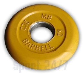"""Диск для штанги и гантелей обрезиненный """"BARBELL"""" (цветной), желтый. Масса 0,75 кг. d26мм."""