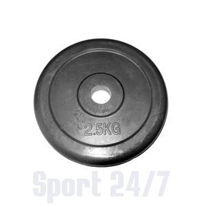 Диск 2,5 кг.обрезиненный «JOHNS» (71019-2,5В/26) d-26 мм.,цвет черный