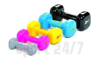 Гантель для фитнеса виниловая REEBOK RAWT-11051GR(серый) 1кг