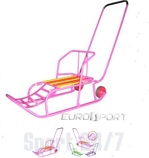 Санки детские складные со съемной перекидной ручкой, с большими колесиками Euro sport