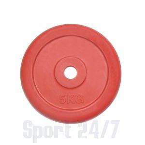 Диск 5 кг.обрезиненный «JOHNS» (71019-5C/26) d-26 мм.,цвет красный