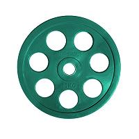 Диск олимпийский цветной   обрезиненный с хватами  HYPERSET DK4014-10