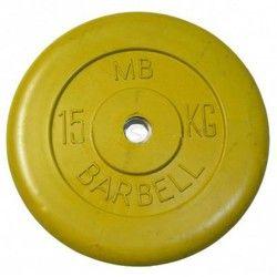 Диск для штанги и гантелей обрезиненный 'BARBELL' (цветной), желтый. Масса 15 кг. d26мм.