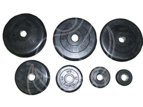 Диск черный обрезиненный MB Barbell Евро-классик 15 кг (Д-51-мм)