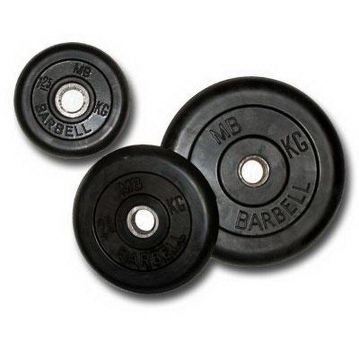 Диск для штанги и гантелей черныи обрезиненный BARBELL 25 кг. d51мм