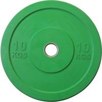 Диск 10 кг обрезиненный JOHNS (APOLO) отверстие d - 51 мм., цвет зеленый