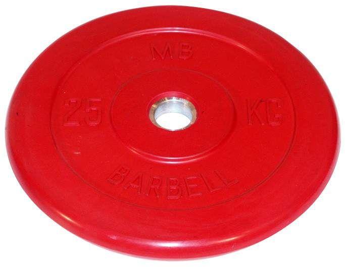 Диск для штанги и гантелей обрезиненный 'BARBELL' (цветной), красный. Масса 25 кг. d26мм.