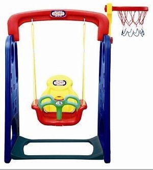 JM-702 Детские качели с музыкальной панелью и баскетбольным кольцом Happy Box