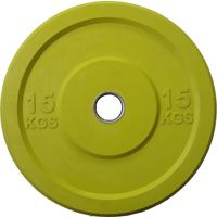 Диск 15 кг обрезиненный JOHNS (APOLO) отверстие d - 51 мм., цвет желтый