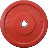 Диск 25 кг обрезиненный JOHNS (APOLO) отверстие d - 51 мм., цвет красный