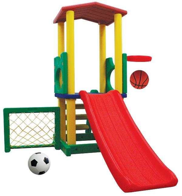 Игровой комплекс с горкой, баскетбольным кольцом и футбольными воротами HAPPY BOX JM-731B
