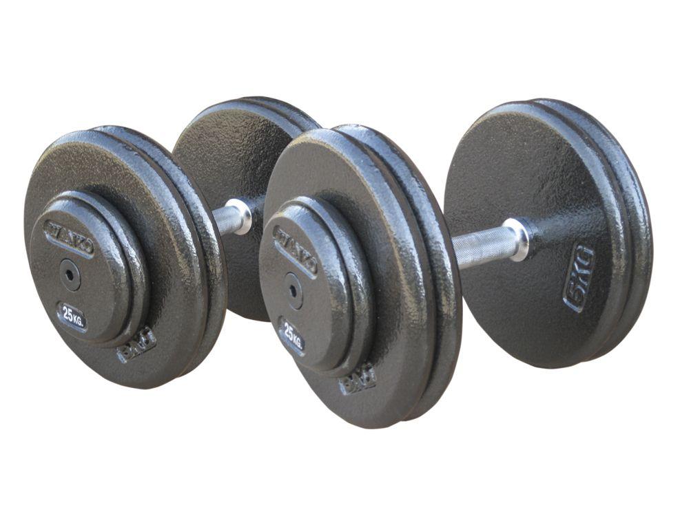 Комплект гантелей, фиксированные металлические JOHNS, цвет черный 12,5кг, 15кг, 17,5кг, 20кг