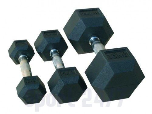 Комплект гантелей, гексагональные обрезиненные JOHNS, цвет чёрный по 22,5кг,25кг,27,5кг,30кг (4 пары)