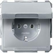 Розетка c/з с крышкой Merten System Design Алюминий
