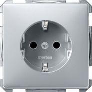 Розетка c/з с защитными шторками Merten System Design Алюминий