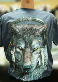 Футболка волк с наушниками