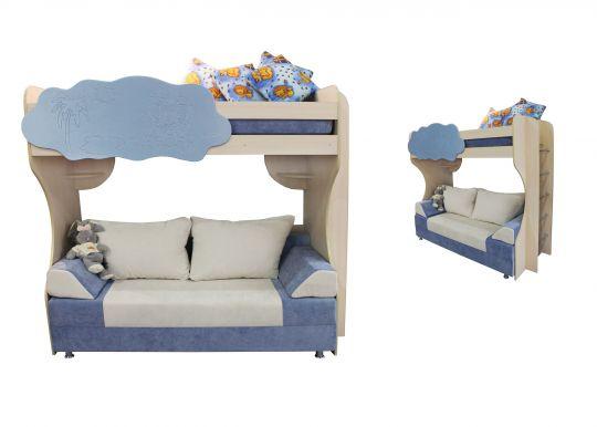 Детская двухъярусная кровать с диваном Амаретто-1