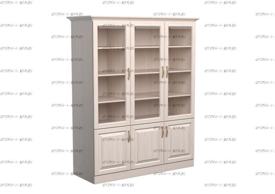 Шкаф-библиотека 3-дверный Эдем Массив DreamLine (135х48х220)