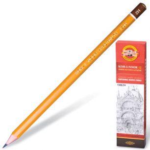 Карандаш чернографитный KOH-I-NOOR 1500, 1 шт., 2H, корпус желтый, без резинки, заточенный, 150002H01170RU