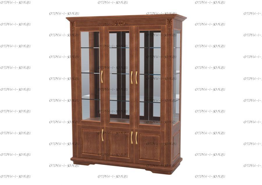 Шкаф-витрина 3-дверный Палермо Массив DreamLine (161х54х220)