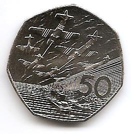 50 лет высадки союзников в Нормании (день D)  50 пенсов Великобритания 1994
