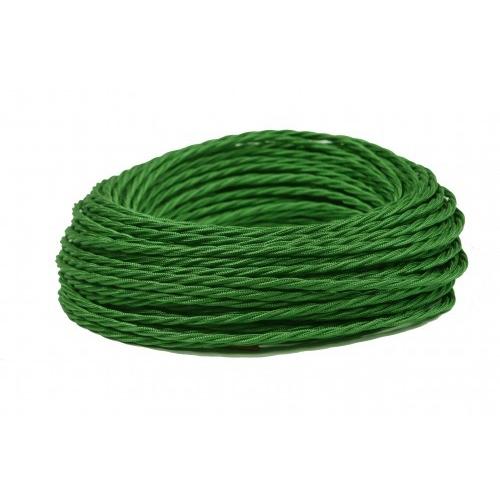 Витой Ретро провод 2х0,75 зеленый шелк