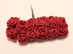 Цветы из фоамирана, 25 мм, 6х12шт, цвет: бордовый
