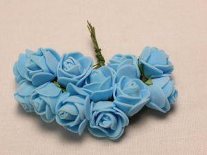 Цветы из фоамирана, 25 мм, 6х12шт, цвет: светло-синий