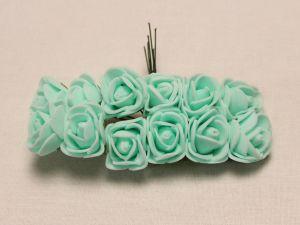 Цветы из фоамирана, 25 мм, 6х12шт, цвет: светло-зеленый мятный