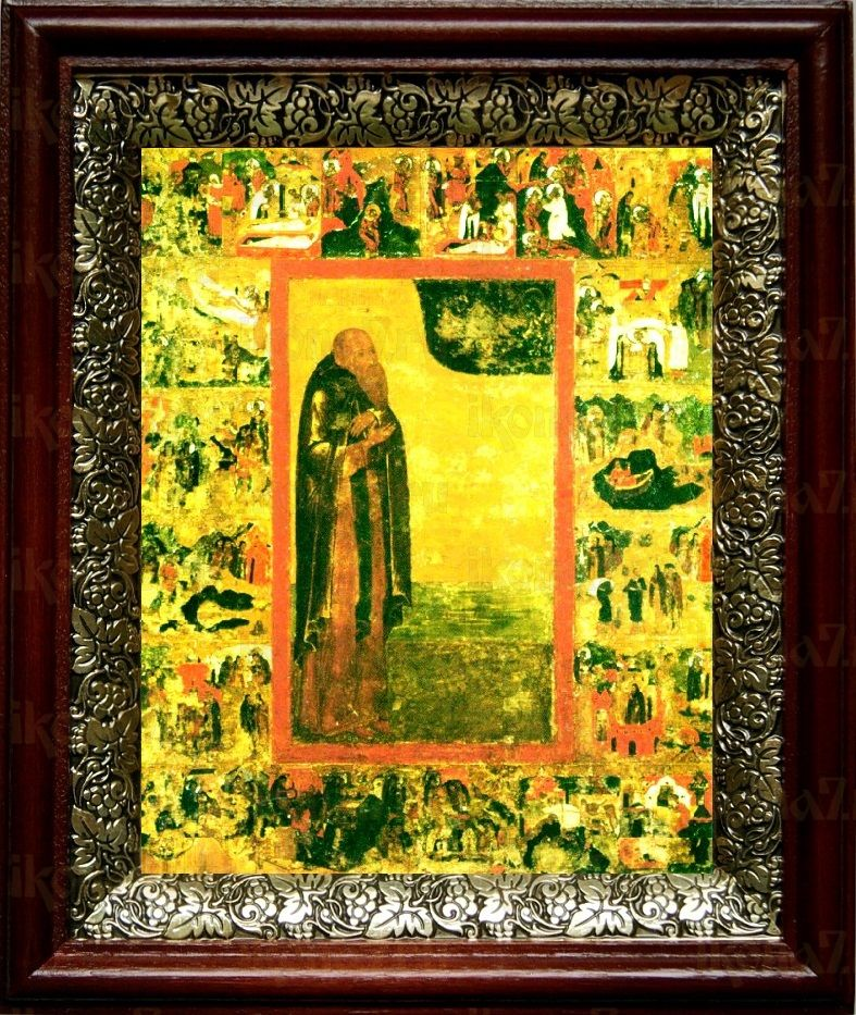 Антоний Сийский (19х22), темный киот