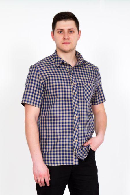 """Мужская рубашка """"Ромио"""" сине-бежевая"""