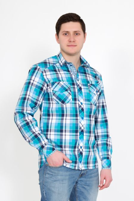 """Мужская рубашка """"Орел"""" голубая"""