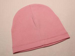 Шапка трикотажная, размер 44-46 (20*19 см), цвет розовый (1 уп = 6 шт), Арт. ПВ0059