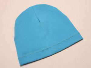 Шапка трикотажная, размер 44-46 (20*19 см), цвет голубой (1 уп = 6 шт), Арт. ПВ0061