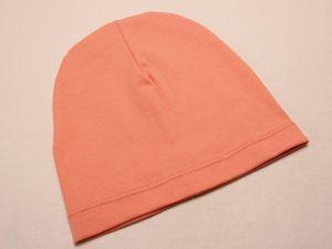Шапка трикотажная, размер 44-46 (20*19 см), цвет персиковый (1 уп = 6 шт), Арт. ПВ0063