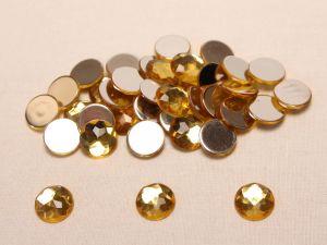 Стразы круглые, граненные, 14 мм, цвет желтый (1 уп = 100 шт)
