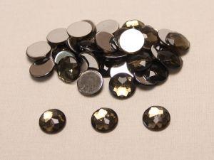 Стразы круглые, граненные, 14 мм, цвет темно-серый (1 уп = 100 шт)
