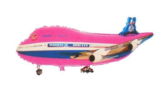 Фольгированный шар самолет розовый