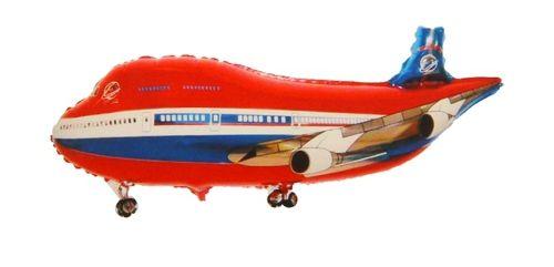 Фольгированный шар самолет красный