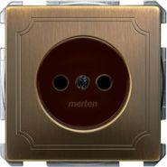Розетка б/з с защ. шторками Merten System Design Античная латунь