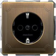 Розетка c/з с защитными шторками безвинт.зажим Merten System Design Античная латунь