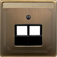Накладка для двойной телефоной и компьютерной розетки Merten System Design Античная латунь