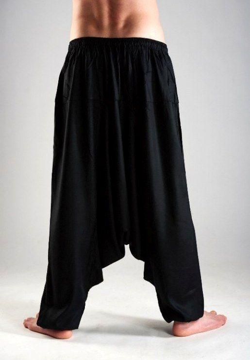 Чёрные штаны алладины из вискозы с узким поясом (СПб)