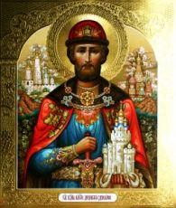 Димитрий Донской (рукописная икона с резьбой)