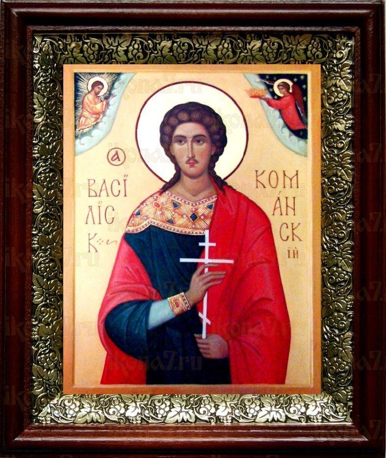 Василиск Команский (19х22), темный киот