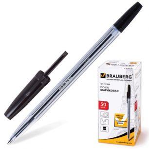 """Ручка шариковая BRAUBERG """"Line"""" (БРАУБЕРГ """"Лайн""""), корпус прозрачный, толщина письма 1,0 мм, черная, 141098"""