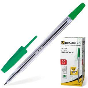 """Ручка шариковая BRAUBERG """"Line"""" (БРАУБЕРГ """"Лайн""""), корпус прозрачный, толщина письма 1,0 мм, зеленая, 141342"""